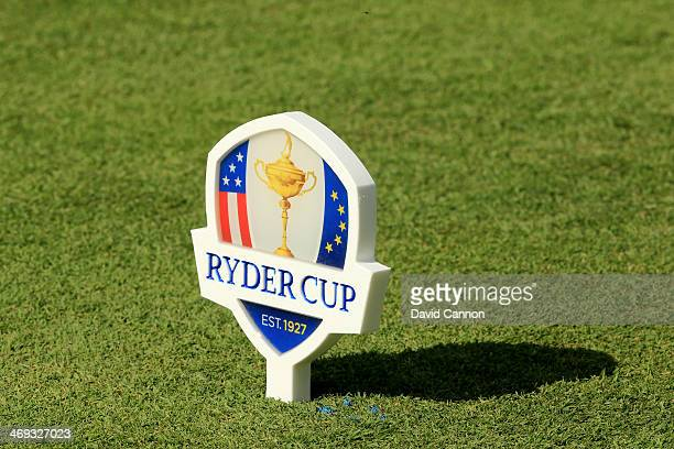 A tee marker on the first tee during the Singles Matches for The 39th Ryder Cup at Medinah Country Club on September 30 2012 in Medinah Illinois