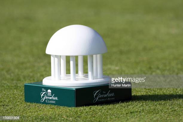 A tee marker sits on the 18th tee box during the first round of The Greenbrier Classic at The Old White TPC on July 28 2011 in White Sulphur Springs...