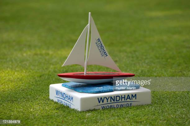 Tee marker sits on the second hole during the first round of the Wyndham Championship at Sedgefield Country Club on August 18, 2011 in Greensboro,...