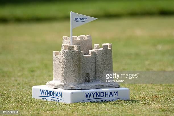 Tee marker sits on the sixth hole during the third round of the Wyndham Championship at Sedgefield Country Club on August 20, 2011 in Greensboro,...