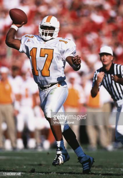 Tee Martin, Quarterback for the University of Tennessee Volunteers prepares to throw the football during the NCAA Southeastern Conference college...