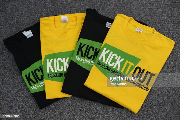 Tee Shirts for the Kick it Out Campaign are laid out prior to the Sky Bet League One match between Northampton Town and Scunthorpe United at...
