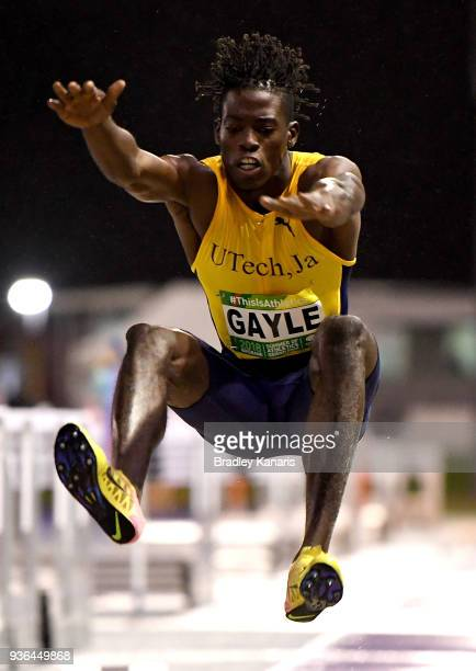Teejay Gayle of Jamaica competes in the Men's Long Jump event during the Summer of Athletics Grand Prix at QSAC on March 22 2018 in Brisbane Australia