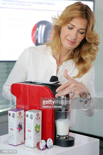 Teekanne brand ambassador Steffi Graf poses during the presentation of a new product Teekanne Tealounge System on September 17 2014 in Hamburg Germany