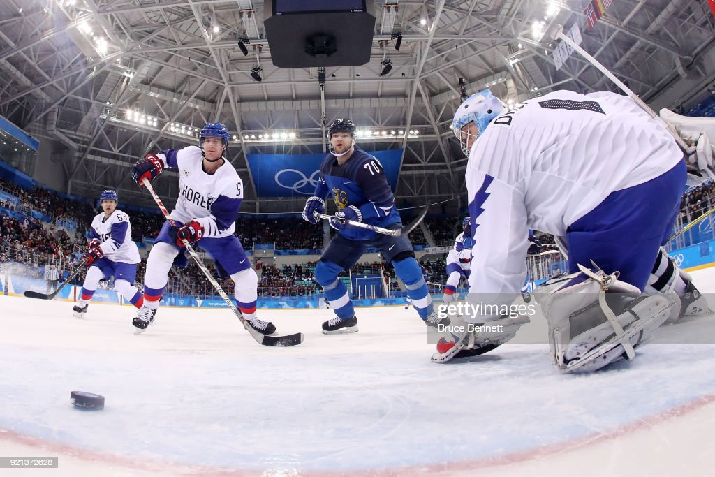 Teemu Hartikainen #70 of Finland scores a goal on Matt Dalton #1 of Korea during the Men's Play-offs Qualifications game on day eleven of the PyeongChang 2018 Winter Olympic Games at Gangneung Hockey Centre on February 20, 2018 in Gangneung, South Korea.