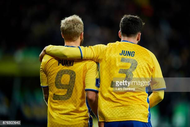 Teemu Pukki and Anthony Jung of Brondby IF celebrate after scoring their second goal during the Danish Alka Superliga match between Brondby IF and FC...