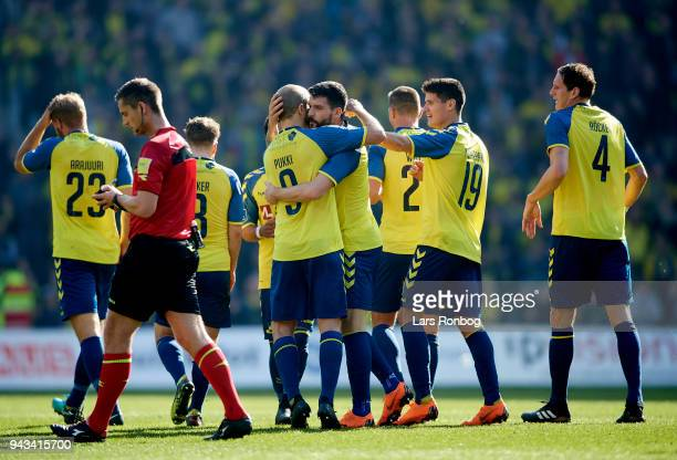Teemu Pukki and Anthony Jung of Brondby IF celebrate after scoring their first goal during the Danish Alka Superliga match between Brondby IF and AC...