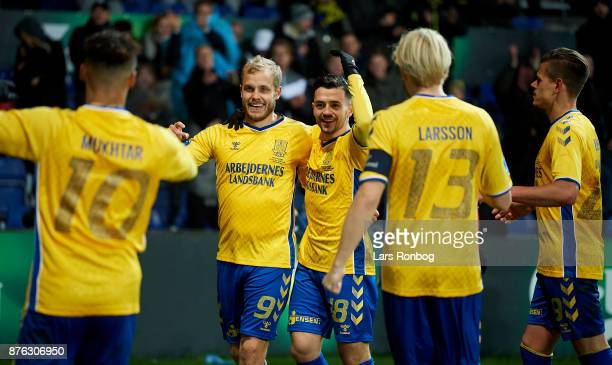Teemu Pukki and Besar Halimi of Brondby IF celebrate after scoring their second goal during the Danish Alka Superliga match between Brondby IF and FC...
