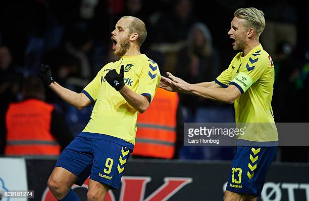 Teemu Pukki and Johan Larsson of Brondby IF celebrate after scoring their first goal during the Danish Alka Superliga match between Brondby IF and FC...
