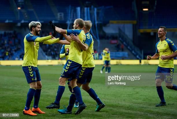 Teemu Pukki Anthony Jung Paulus Arajuuri and Kamil Wilczek of Brondby IF celebrates after scoring their fifth goal during the Danish Alka Superliga...