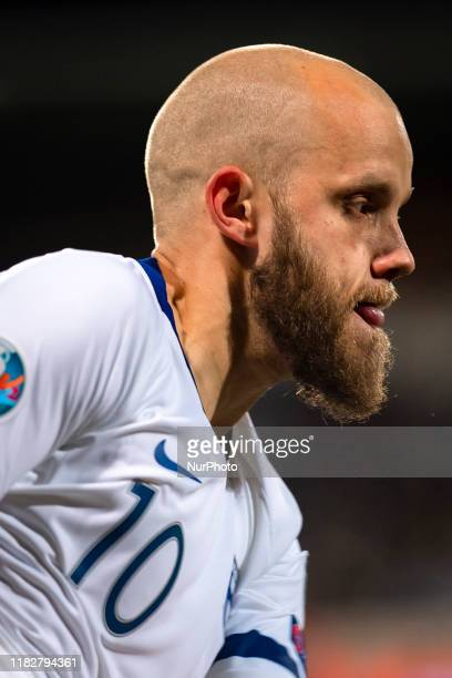 Teemu Pukki during the UEFA Euro 2020 Qualifier between Finland and Liechtenstein on November 15, 2019 in Helsinki, Finland.