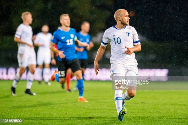 Teemu Pukki during the UEFA Nations League football match between Finland and Estonia at the Veritas Stadium in Turku Finland on 11 September 2018