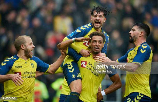 Teemu Pukki Hany Mukhtar Anthony Jung and Besar Halimi of Brondby IF celebrate after scoring their second goal during the Danish Alka Superliga match...
