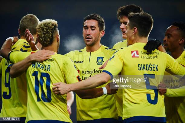 Teemu Pukki Hany Mukhtar Frederik Holst Gregor Sikosek and Christian Norgaard of Brondby IF celebrate after scoring their first goal during the...