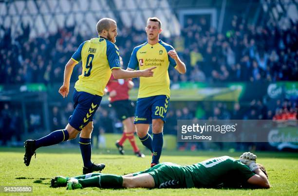 Teemu Pukki of Brondby IF 2g$ the Danish Alka Superliga match between Brondby IF and AC Horsens at Brondby Stadion on April 8 2018 in Brondby Denmark