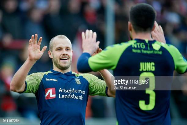 Teemu Pukki of Brondby IF and Anthony Jung of Brondby IF celebrate after the 02 goal from Teemu Pukki during the Danish Alka Superliga match between...