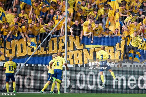 Teemu Pukki of Brondby IF and fans of Brondby IF celebrates his 11 goal during the Danish Cup DBU Pokalen semifinal match between FC Midtjylland and...
