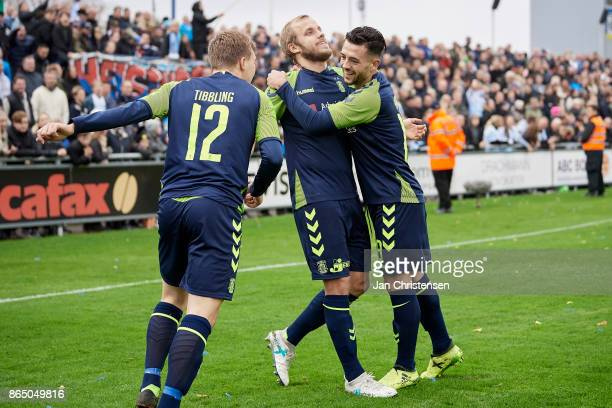 Teemu Pukki of Brondby IF and teammates celebrate after his 01 goal during the Danish Alka Superliga match between FC Helsingor and Brondby IF at...