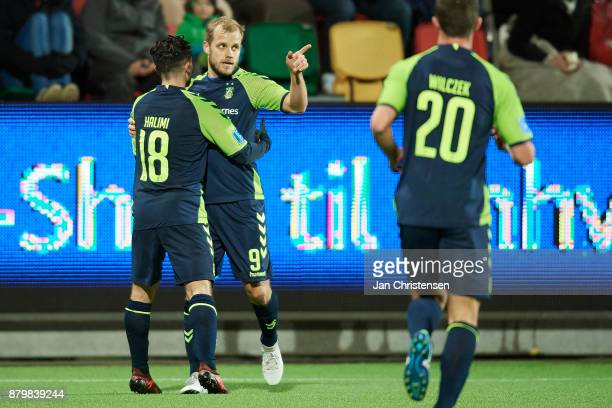Teemu Pukki of Brondby IF and teammates celebrating his 11goal during the Danish Alka Superliga match between Silkeborg IF and Brondby IF at JYSK...