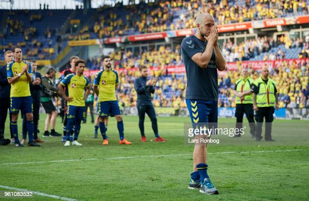 Teemu Pukki of Brondby IF applause the fans after the Danish Alka Superliga match between Brondby IF and AaB Aalborg at Brondby Stadion on May 21...