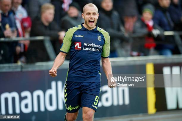Teemu Pukki of Brondby IF celebrate after his 03 goal during the Danish Alka Superliga match between AaB Aalborg and Brondby IF at Aalborg Portland...