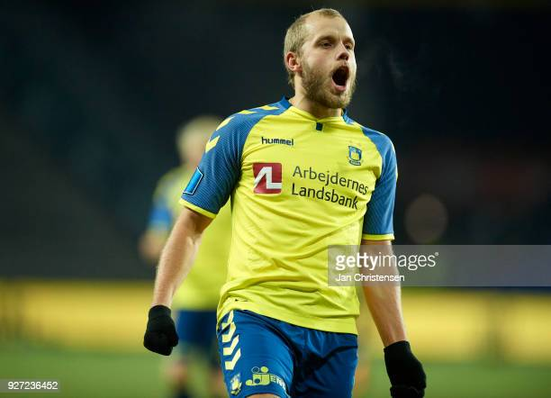 Teemu Pukki of Brondby IF celebrate after his 20 goal during the Danish Alka Superliga match between Brondby IF and OB Odense at Brondby Stadion on...