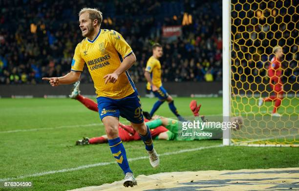Teemu Pukki of Brondby IF celebrates after his 20 goal during the Danish Alka Superliga match between Brondby IF and FC Nordsjalland at Brondby...
