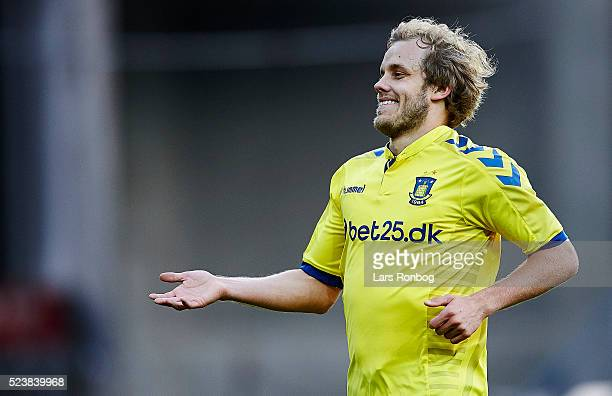 Teemu Pukki of Brondby IF celebrates after scoring their first goal during the Danish Alkla Superliga match between Brondby IF and AGF Aarhus at...