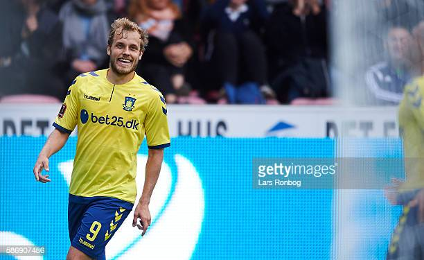 Teemu Pukki of Brondby IF celebrates after scoring their first goal during the Danish Alka Superliga match between FC Midtjylland and Brondby IF at...