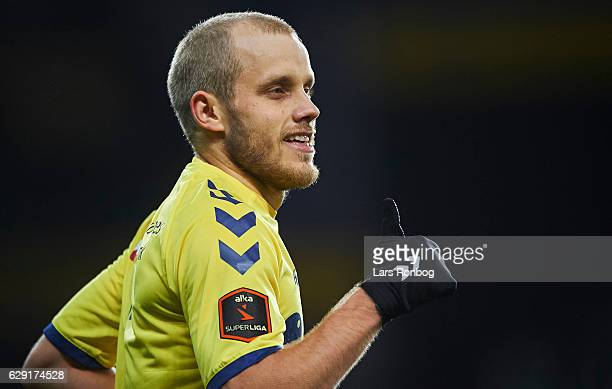 Teemu Pukki of Brondby IF celebrates after scoring their first goal during the Danish Alka Superliga match between Brondby IF and FC Midtjylland at...
