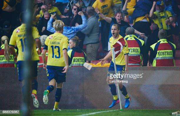 Teemu Pukki of Brondby IF celebrates after scoring their first goal during the Danish Cup Final DBU Pokalen match between FC Copenhagen and Brondby...