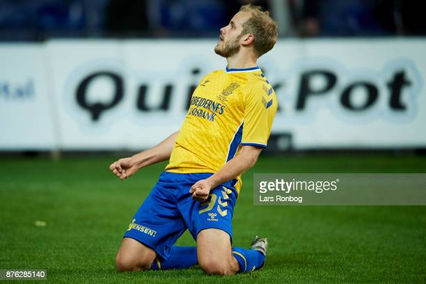Teemu Pukki of Brondby IF celebrates after scoring their first goal during the Danish Alka Superliga match between Brondby IF and FC Nordsjalland at...
