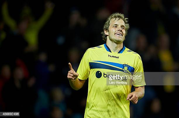 Teemu Pukki of Brondby IF celebrates after scoring their second goal during the Danish Superliga match between Brondby IF and AaB Aalborg at Brondby...