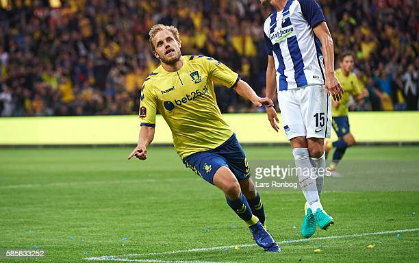 Teemu Pukki of Brondby IF celebrates after scoring their second goal during the UEFA Europa League qualifier match between Brondby IF and Hertha...