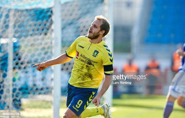 Teemu Pukki of Brondby IF celebrates after scoring their second goal during the Danish Alka Superliga match between Lyngby BK and Brondby IF at...