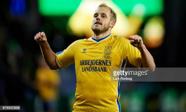 Teemu Pukki of Brondby IF celebrates after scoring their second goal during the Danish Alka Superliga match between Brondby IF and FC Nordsjalland at...