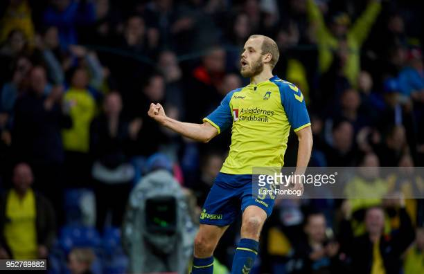 Teemu Pukki of Brondby IF celebrates after scoring their third goal during the Danish Alka Superliga match between Brondby IF and FC Nordsjalland at...