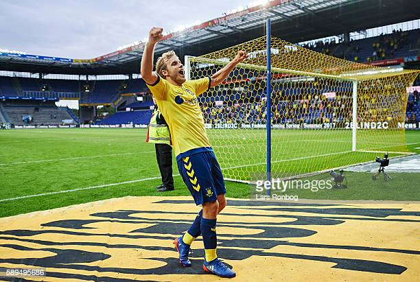 Teemu Pukki of Brondby IF celebrates after the Danish Alka Superliga match between Brondby IF and Sonderjyske at Brondby Stadion on August 14 2016 in...