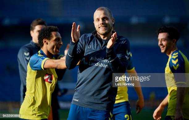 Teemu Pukki of Brondby IF celebrates after the Danish Alka Superliga match between Brondby IF and AC Horsens at Brondby Stadion on April 8 2018 in...