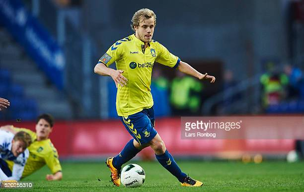 Teemu Pukki of Brondby IF controls the ball during the Danish Alka Superliga match between Brondby IF and OB Odense at Brondby Stadion on April 10...