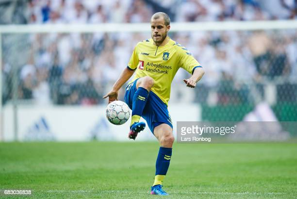 Teemu Pukki of Brondby IF controls the ball during the Danish Alka Superliga match between FC Copenhagen and Brondby IF at Telia Parken Stadium on...