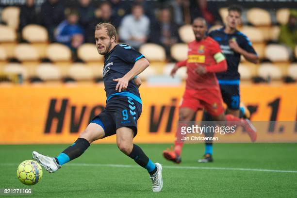 Teemu Pukki of Brondby IF in action during the Danish Alka Superliga match between FC Nordsjalland and Brondby IF at Right to Dream Park on July 23...