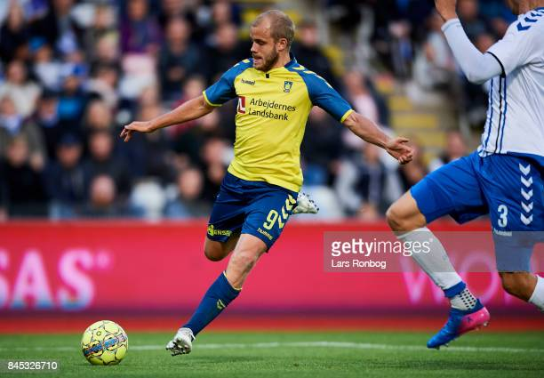 Teemu Pukki of Brondby IF in action during the Danish Alka Superliga match between OB Odense and Brondby IF at EWII Park on September 10 2017 in...