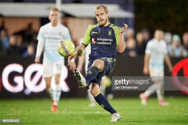 Teemu Pukki of Brondby IF in action during the Danish Alka Superliga match between FC Helsingor and Brondby IF at Helsingor Stadion on October 22...
