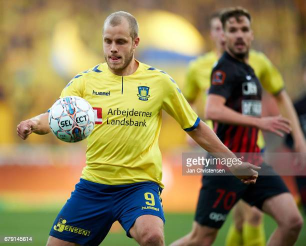 Teemu Pukki of Brondby IF in action during the Danish Cup DBU Pokalen semifinal match between FC Midtjylland and Brondby IF at MCH Arena on May 04...