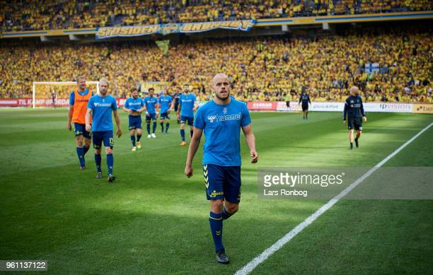 Teemu Pukki of Brondby IF leaving the pitch after warmup prior to the Danish Alka Superliga match between Brondby IF and AaB Aalborg at Brondby...