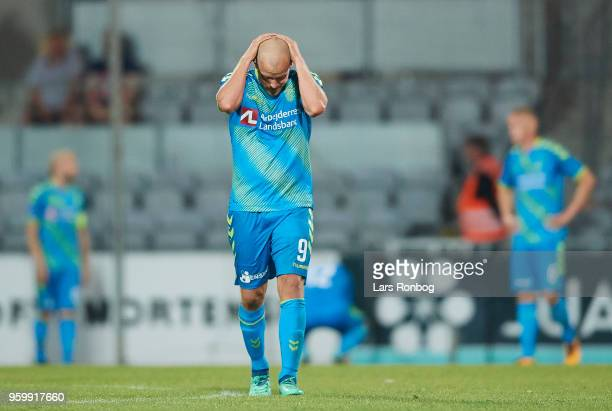 Teemu Pukki of Brondby IF looks dejected during the Danish Alka Superliga match between AC Horsens and Brondby IF at CASA Arena Horsens on May 18...