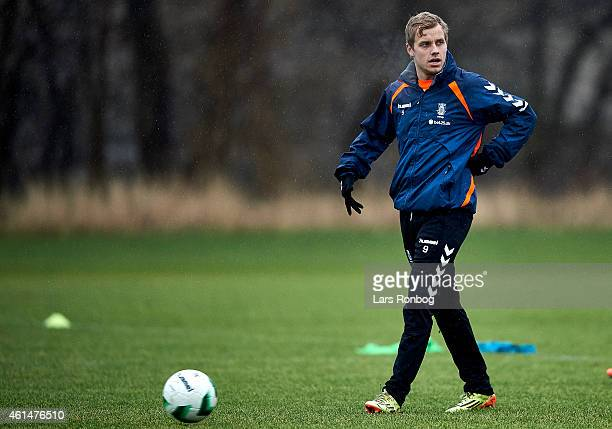 Teemu Pukki of Brondby IF looks on during the Brondby IF first training session of the year at Brondby Stadion on January 12 2015 in Brondby Denmark