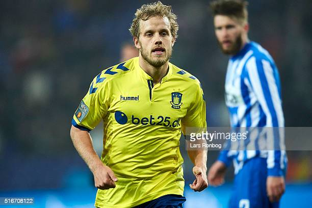 Teemu Pukki of Brondby IF looks on during the Danish Alka Superliga match between Brondby IF and Esbjerg fB at Brondby Stadion on March 20 2016 in...