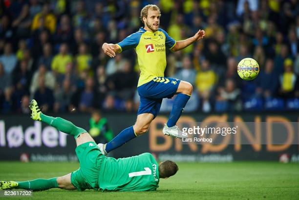 Teemu Pukki of Brondby IF scores against Goalkeeper Dante Stipica of Hajduk Split but goal is cancelled for offside during the UEFA Europa League...